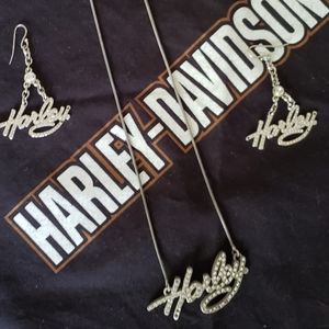 H-D Script Necklace and matching earrings